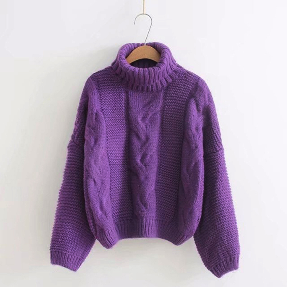 Women Turtleneck Sweaters Autumn Winter 2019 Pull Jumpers European Casual Twist Warm Purple Sweaters Female Oversized Sweater