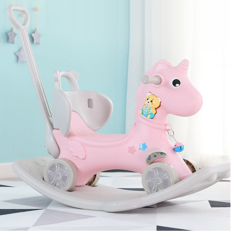 Trojan Horse Children's Rocking Horse Cart Rocking Chair Music Multifunctional Baby Toy Plastic Rocking Horse