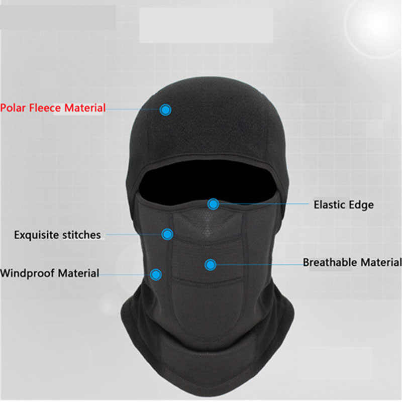 Sports Ski Motorcycle Snowboard Cold Face Shield Hat Scarf Winter Fleece Cycling Warm Balaclava Full Face Mask Thermal Liner