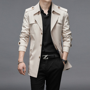 Thoshine Brand Spring Autumn Men Trench Coats Superior Quality Buttons Male Fashion Outerwear Jackets Windbreaker Plus Size 4XL
