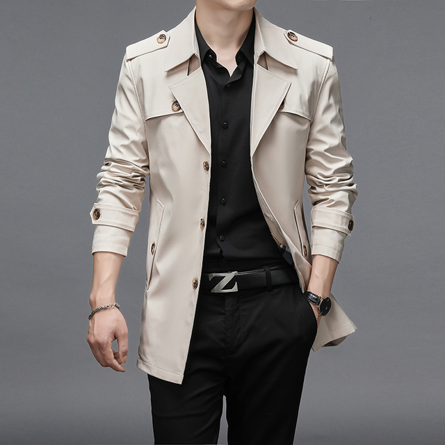 Thoshine Brand Spring Autumn Men Trench Coats Superior Quality Buttons Male Fashion Outerwear Jackets Windbreaker Plus Size 4XL 1
