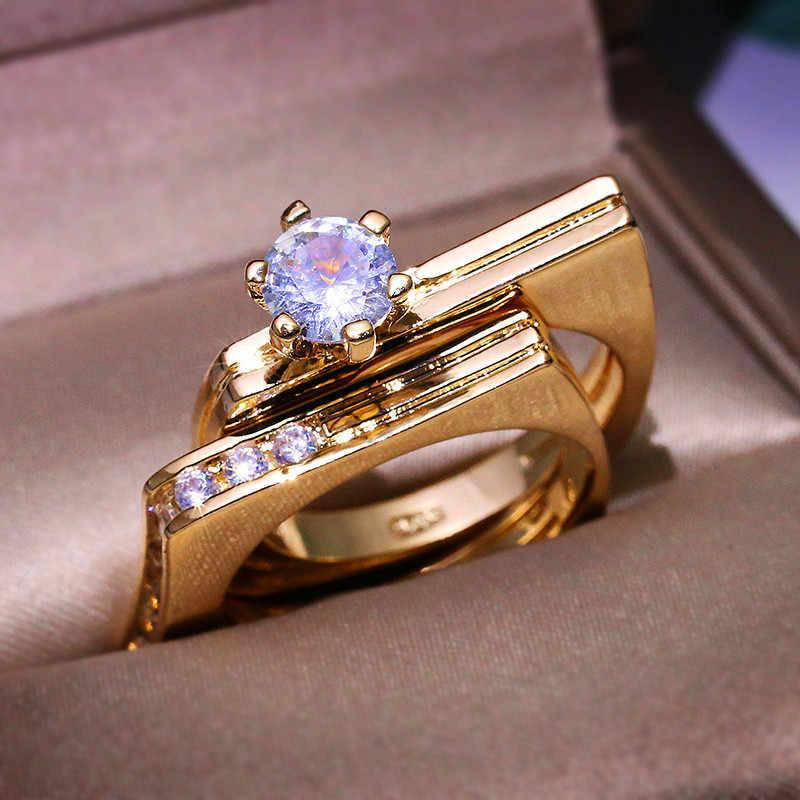Luxo Feminino Rodada Pedra de Cristal Conjunto Anel Estilo Único Partido Anel de Noivado Anéis de Casamento Para As Mulheres Ouro Amarelo Geométrica