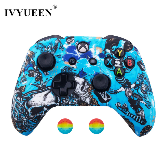 IVYUEEN Silicone Protective Skin Case for XBox One X S Controller Protector Water Transfer Printing Camouflage Cover Grips Caps 5