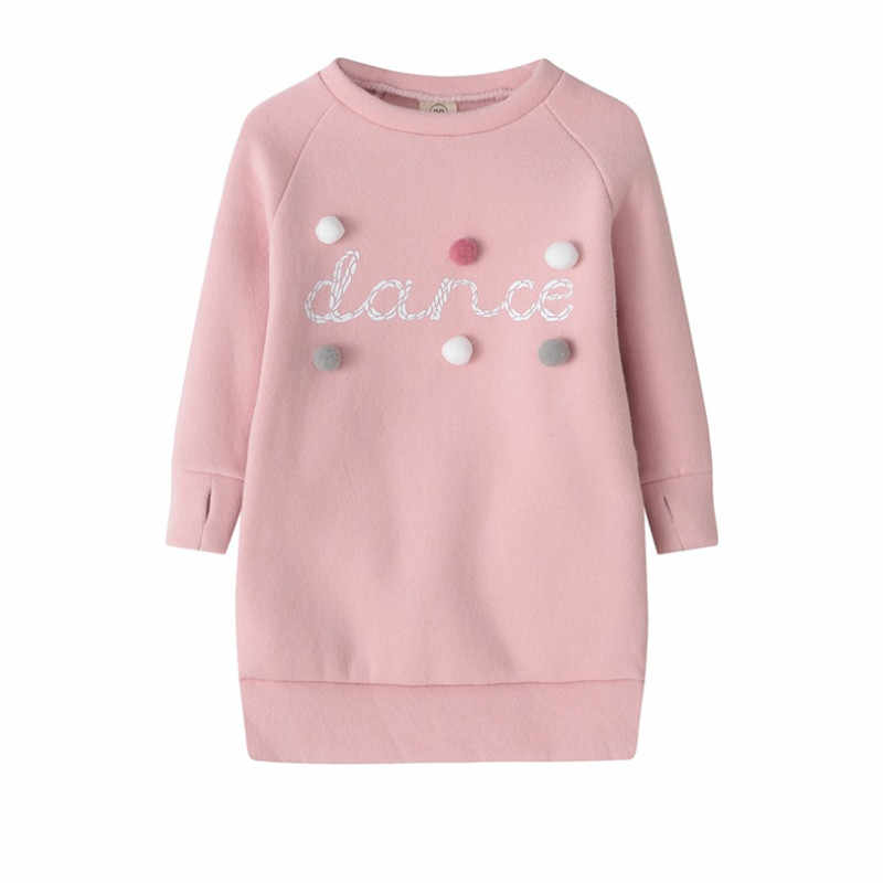 Autumn Winter Baby Girls Sweater Dress Mini Dresses Plush Ball Long Sleeve Kids Party Princess Dress Clothes 1-5Y