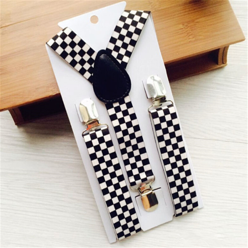 2.5 Cm Width Boys Girls Children Toddlers Perform Braces Black And White Checker Clip-on Adjustable Elastic Suspenders