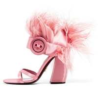 Summer Feather Sandals Satin Chunky Heel Open Toe Runway Stage Shoes Pink Fashion Hollow Buckle Sandal Shoes Square Heel