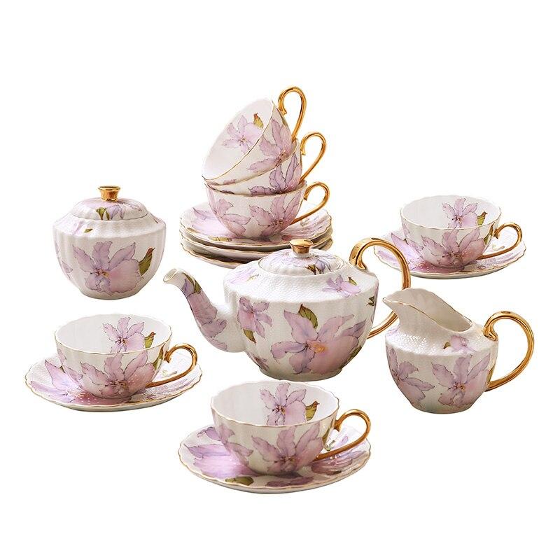 Avrupa yüksek dereceli kemik çini kahve fincan seti İngiliz öğleden sonra çay fincanı seti zarif porselen çay bardağı tabak pot düğün hediyesi