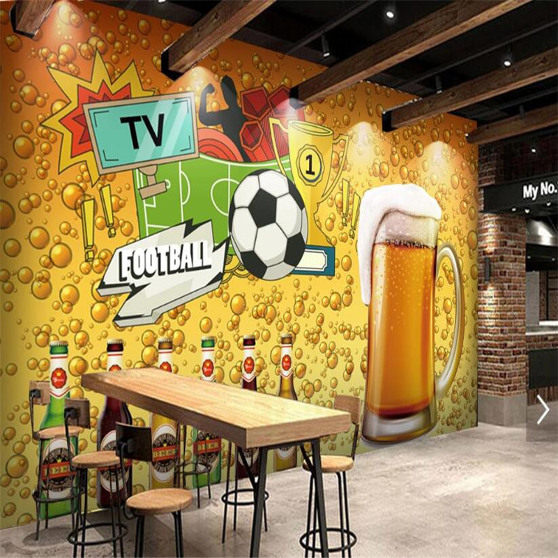 Custom Creative World Cup Football Beer Theme Industrial Decor Background 3D Mural Wallpaper Personality Bar Club Wall Paper 3D