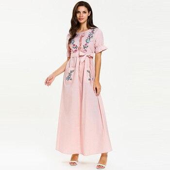 Middle Eastern fashion girly bow belt long skirt Muslim short-sleeved ruffled embroidered summer pocket Slim dress women s fashionable collared short sleeved dacron dress w belt deep blue xl