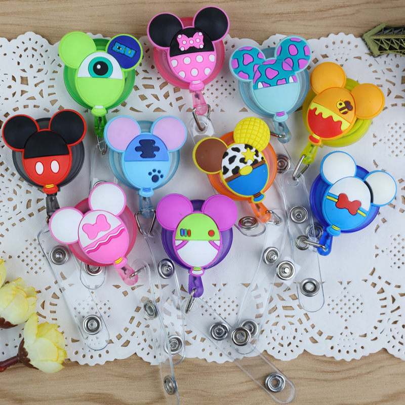 1Pc Cute Kawaii Retractable Badge Reel High Quality Silicone Cartoon Student Nurse ID Name Card Badge Holder Office Supplies