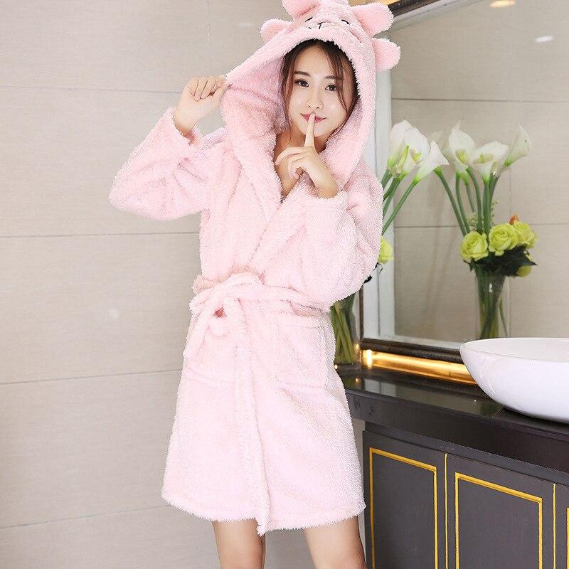 Autumn/winter Korean Version Of Lamb Plush Warm Coral Plush Pajamas Cute Cartoon Plush Hooded Nightgown