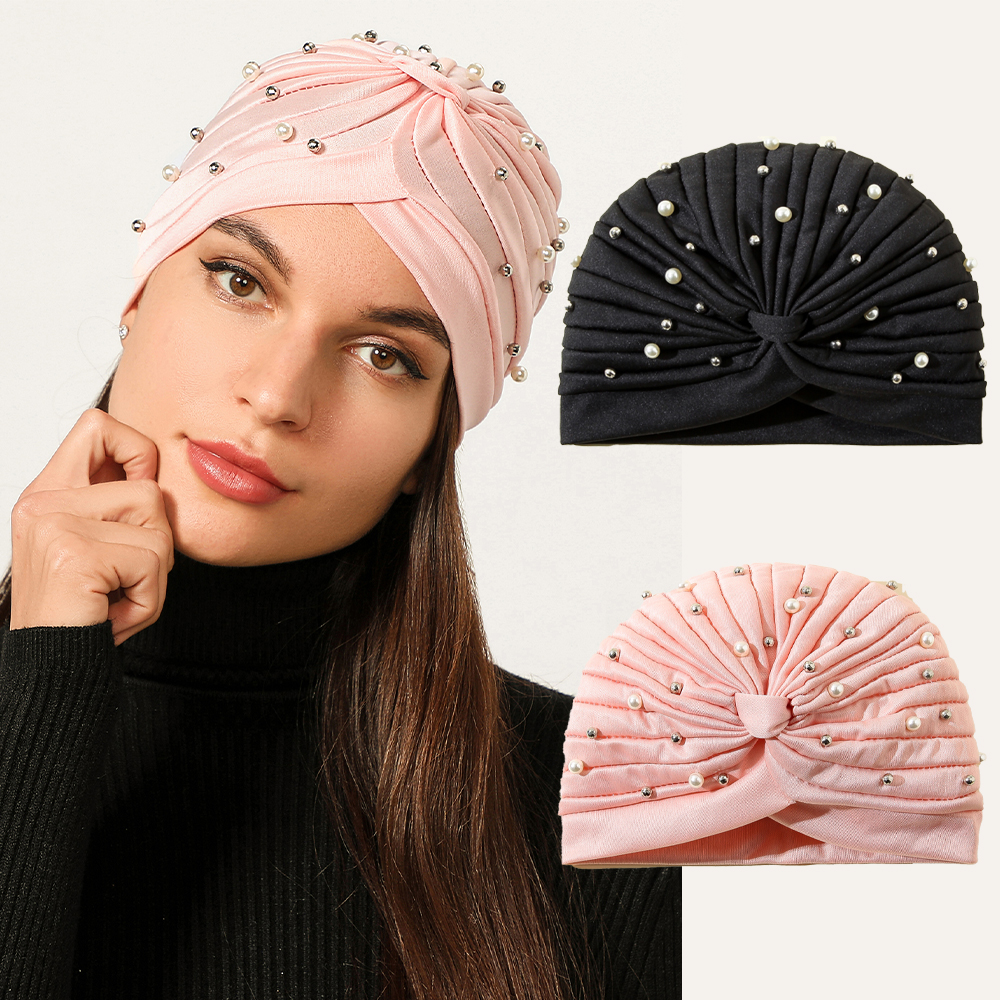 Novo elegante cristal pérolas turbante boné ruched atada turbante chapéu feminino muçulmano hijab islamichead cachecol senhoras cabeça envoltório