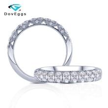 DovEggs 14K 585 זהב לבן מרכז 2.5mm F צבע Moissanite חתונת להקת Engagenment טבעת עבור נשים עבה להקה רוחב 4mm