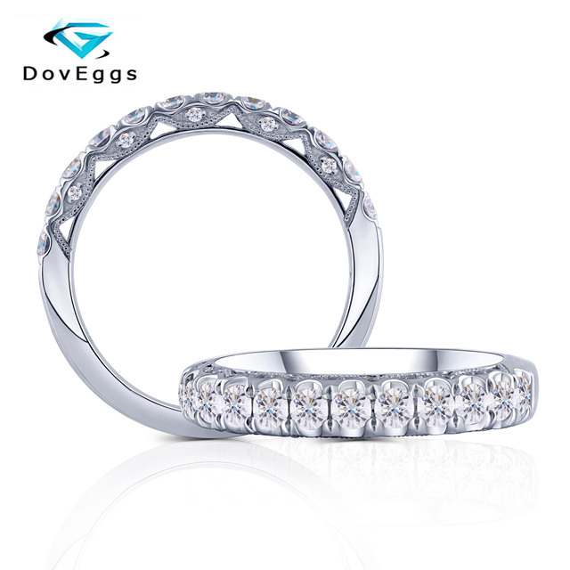 DovEggs 14K 585 White Gold Center 2.5mm F Color Moissanite Wedding Band Engagenment Ring for Women Thick Band Width 4mm