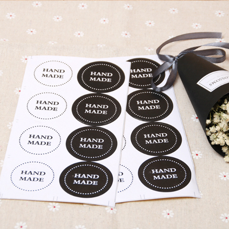 80pcs/pack Black And White Round HAND MADE Sealing Sticker Packing Label Adhesive Sticker Stationery Supplies