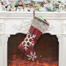 Christmas Socks Gift Bag Stocking Red Sock Santa Candy Xmas Tree Hanging Ornament Decor Stockings