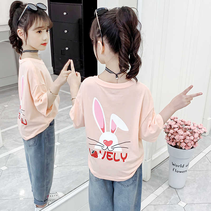 Kids Girl T Shirt Summer Baby Cotton Tops Toddler Tees Clothes Children Clothing rabbit T-shirts Short Sleeve Casual Wear