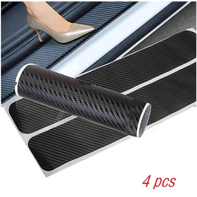 4Pcs Car Door Sill Protector Sticker Autoparts 3D Carbon Fiber Pedals Guards Anti-kick Scratch Door Kick Guard Threshold CB010
