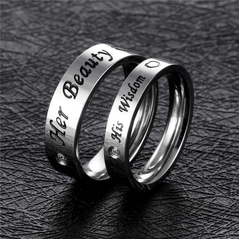 Novo preto titanium aço carta anéis para mulheres dos homens do vintage azul zircão anel jóias amante casamento anéis beleza sabedoria anel presente