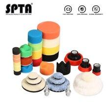 SPTA 29 Uds 1/2/3 pulgadas encerado almohadilla de esponja de pulido almohadillas de lana placa de respaldo de abrillantado para coche sistema de herramientas para DA/RO máquina pulidora
