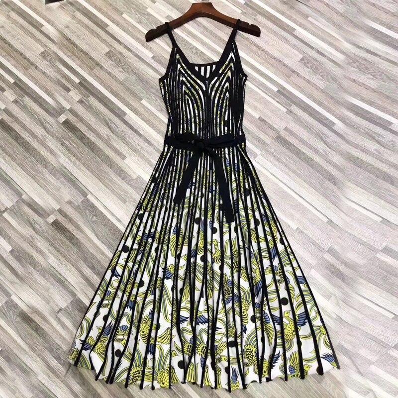 Sexy Dresses Sleeveless Summer 2019 High Street Flowers Print Spaghetti Strap V-Neck Belt Fashion Knee-Length Knitting Dress