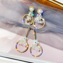 Classic Rhinestone Geometric Women Dangle Earrings Long Asymmetrical Earrings Earrings For Women Drops Earrings цена