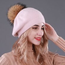 2019Winter Women Knitted Wool Beret Winter Fashion Hat Natural Fur Pompom Double Hats Ms Decoration