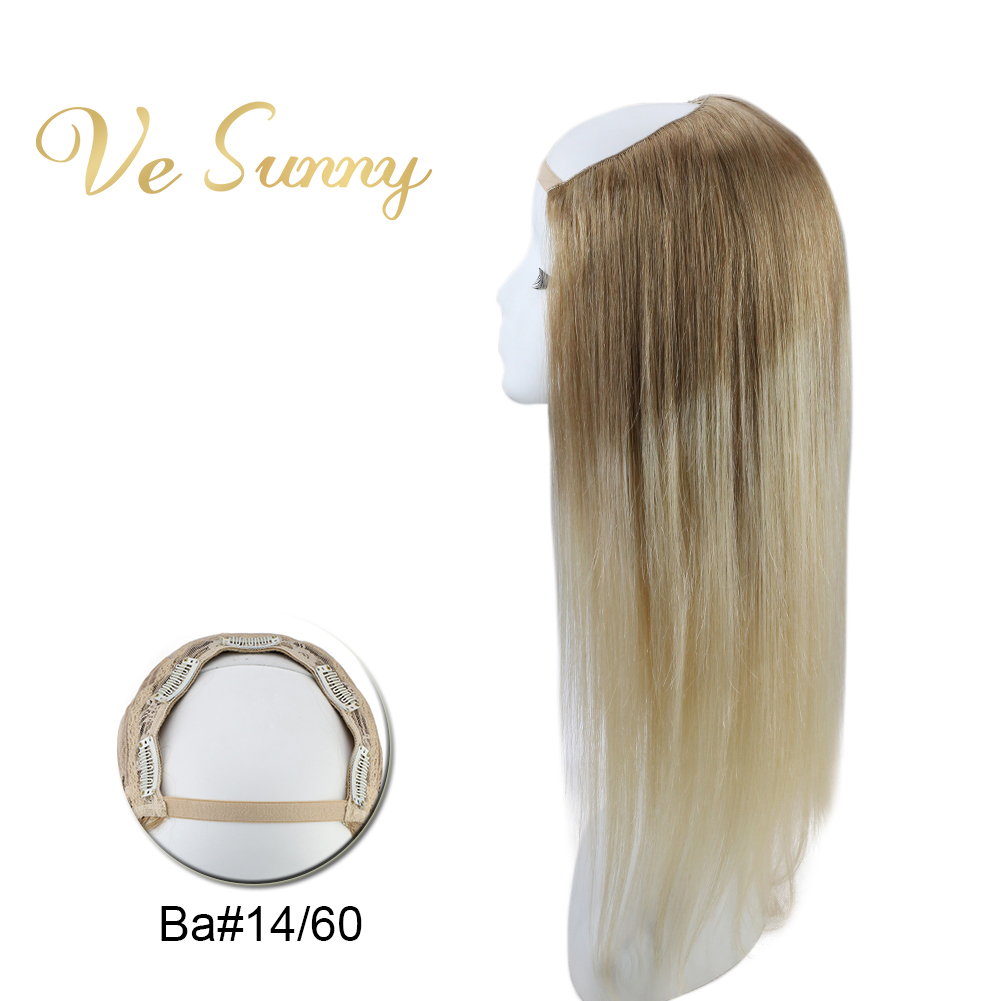 VeSunny U Part Half Wig 100% Real Human Hair With Clips On Balayage Light Brown Ombre Blonde #14/60 Machine Made Remy Hair
