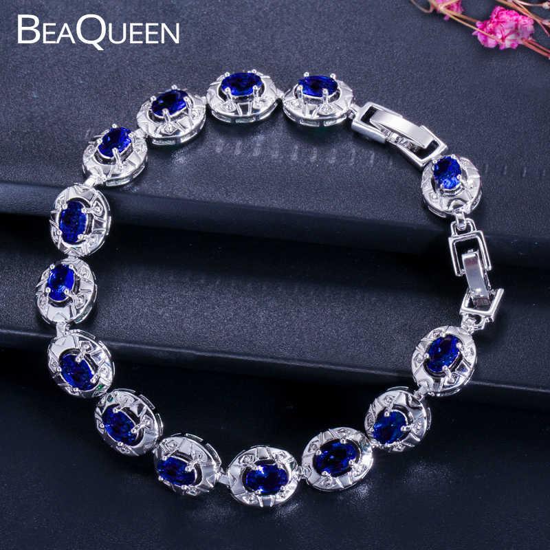 BeaQueen מפורסם מותג כהה כחול CZ קריסטל נשים תכשיטי אופנה הסגלגל Cut מעוקב Zirconia אבן טניס צמידי צמידי B014