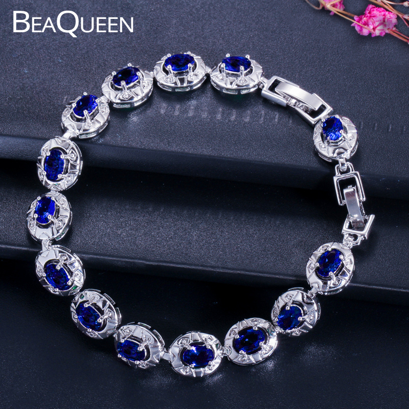 BeaQueen Famous Brand Dark Blue CZ Crystal Women Jewelry Fashion Oval Cut Cubic Zirconia Stone Tennis Armbånd Armbånd B014