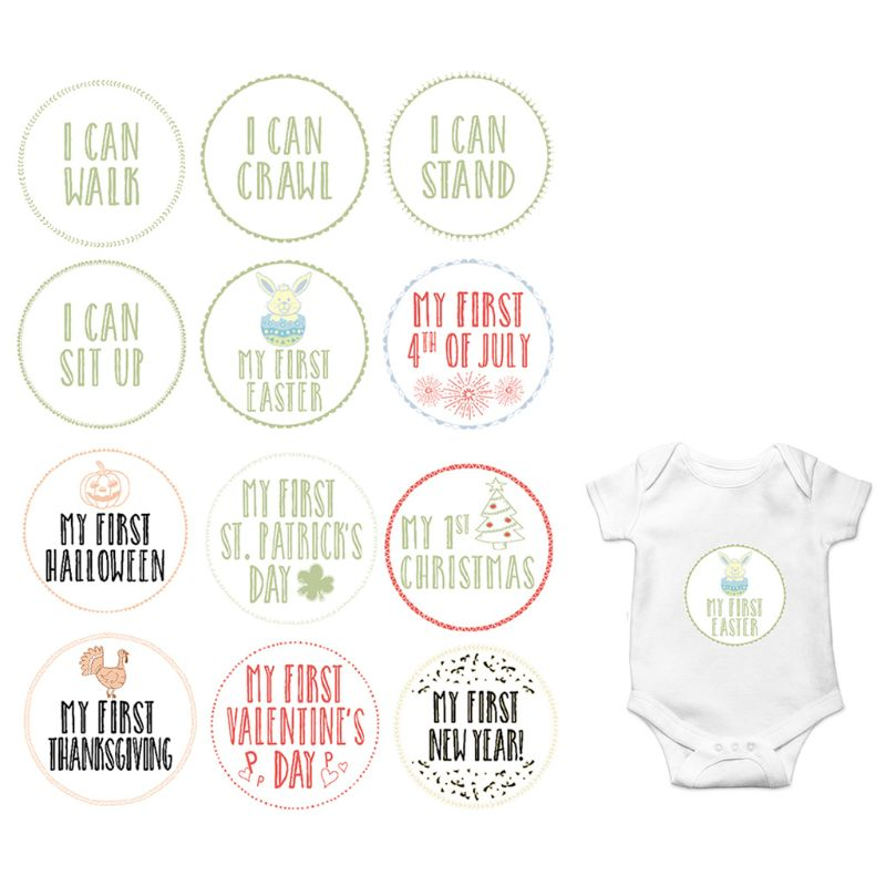 Newborn Month Sticker Pregnant Women Photography Prop Baby Growth Milestone Stickers