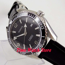 Parnis 45mm Miyota 5ATM czarna tarcza ceramiczna ramka szkiełka zegarka szafirowe szkło mechanizm automatyczny zegarek męski na rękę 289A