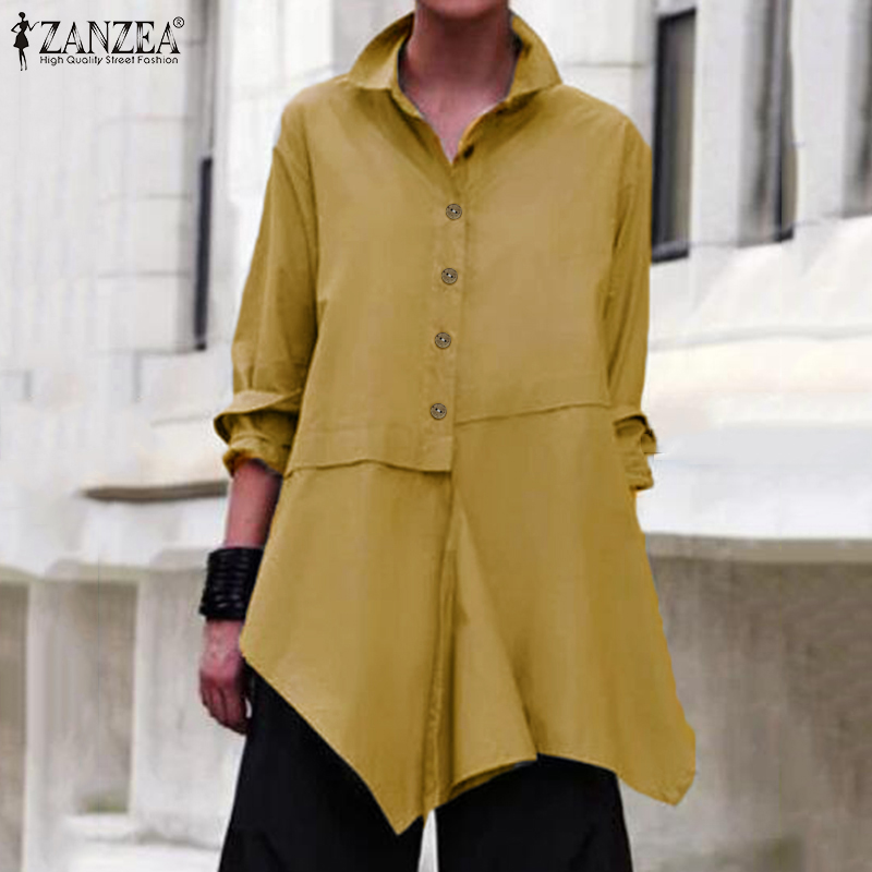 Asymmetrical Shirts Womens Blouse 2020 ZANZEA Stylish Casual Long Sleeve Blusas Female Button Lapel Tops Plus Size Solid Tunic