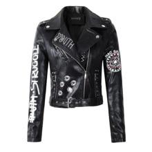 Новинка, женские Куртки из искусственной мягкой кожи на осень и зиму, женские черные Куртки из искусственной кожи с заклепками на молнии, с эполетом, с 3d принтом, мотоциклетная уличная одежда