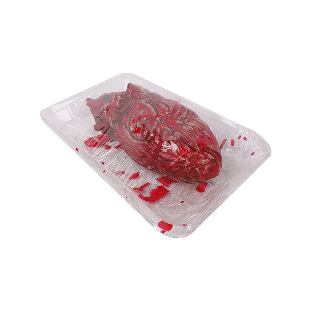 1PC Horror Bloody Fake Severed Heart With Dish Tool Broken Heart Prank Trick Halloween Party Props