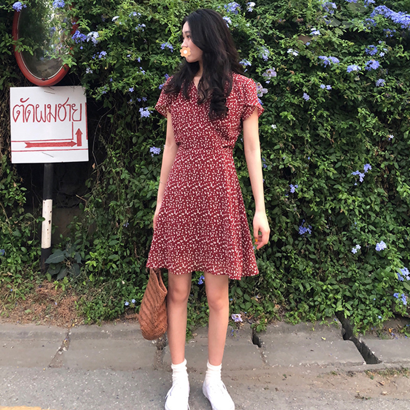 2019 Fashion New Style Spring And Summer Elegant Harajuku-Style V-neck Chiffon CHIC Red Long Skirts Women's Floral-Print Dress