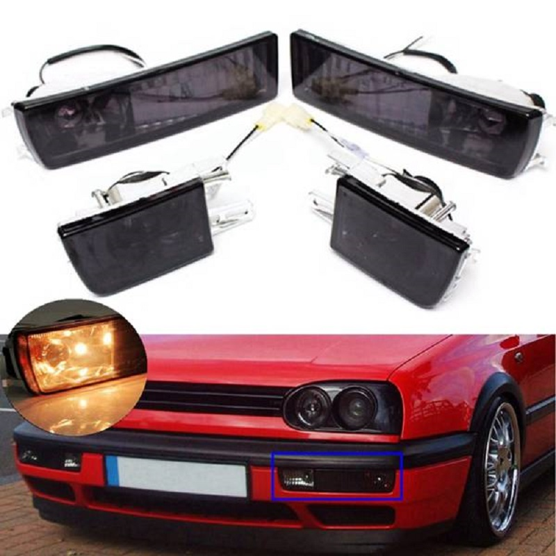Front Bumper Smoke Lens Fog Light Turn Signal Light Lamp For <font><b>Vw</b></font> <font><b>Golf</b></font> Jetta <font><b>Mk3</b></font> 1993-1998 Car Accessories image