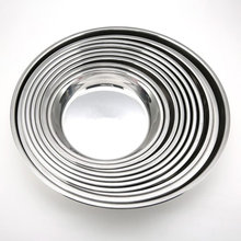 De acero inoxidable no magnético plana redonda placa portátil placa plato para fruta pastel hornear Pan (24CM de plata)