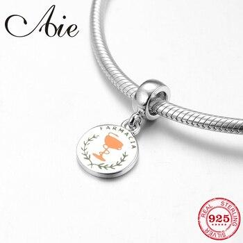 Fashion 925 Sterling Silver Pharmacy Farmacia Letter Fine Pendants Beads Fit Original Pandora Charm Bracelet Jewelry Making 2019