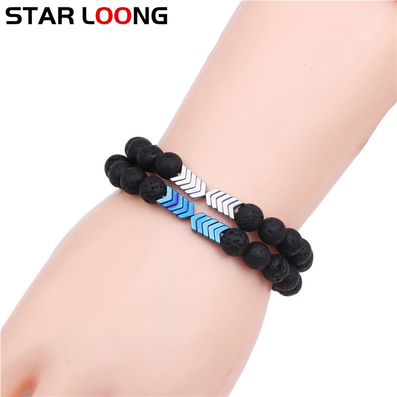 Natural Matte Black Volcanic Lava Stone bracelets magnet arrow Beads men Bangle for women Healing Balance Yoga Fitness Jewelry