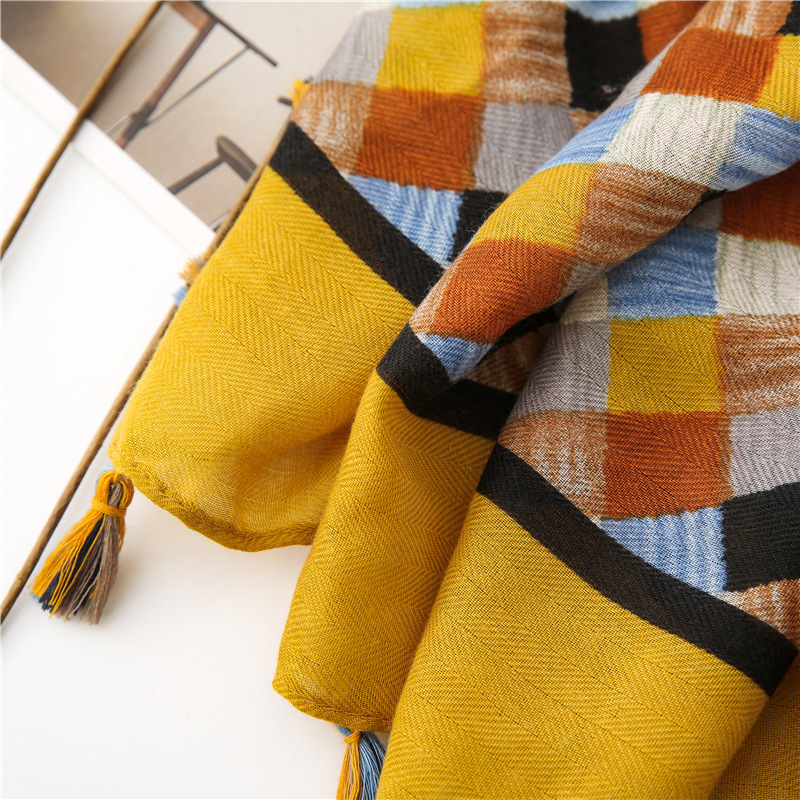 KYQIAO шарф женский foulard femme winter scarf women autumn SPAIN STYLE boho design long plaid scarf Sjaal Muslim Hijab Snood