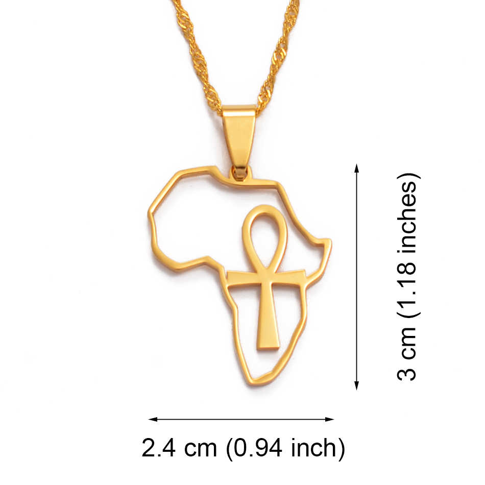 Anniyo Châu Phi Bản Đồ & ANKH Mặt Dây Chuyền Nữ Cô Gái Màu Vàng Trang Sức Châu Phi Bản Đồ Dây Chuyền Ai Cập Biểu Tượng Chữ Thập