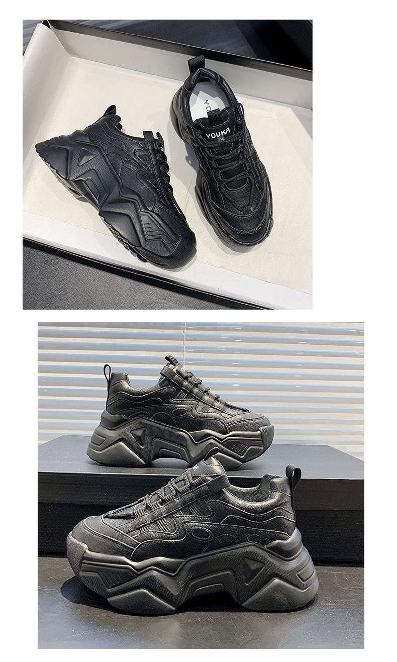 New Black Dad Chunky Sneakers Casual Vulcanized Shoes Woman High Platform Sneakers Lace Up White Sneakers Women 2020
