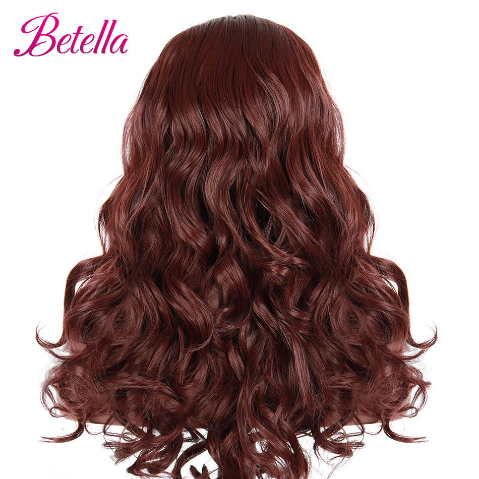 Betella perucas sintéticas da parte dianteira do laço peruca de onda do corpo vermelho perucas cosplay para as mulheres negras super fibra do cabelo perucas sintéticas