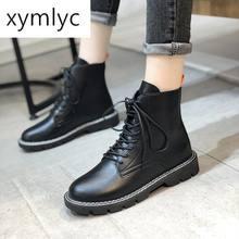 Брендовая женская обувь осенние ботинки со шнуровкой и круглым