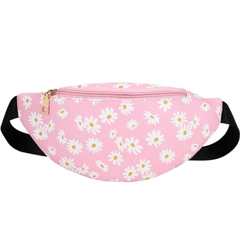 Women Portable Daisy Printed Waist Pack Wild Style Zipper Crossbody Bags Adjustable Dumpling Shaped Wear-resistant Chest Bag novelty flamingo shaped crossbody bag