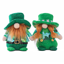 St Patrick günü Gnome yüzü olmayan bebek İsveçli Tomte İskandinav Nisse yeşil şapka yonca peluş bebek irlandalı festivali parti dekor