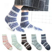Осень, женские носки средней длины, теплые, Осень-зима, женские, чистый цвет, мягкая шерсть, толстые, женские носки
