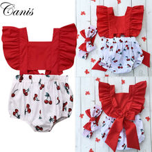 Clothing Kids Cherry-Print Newborn Baby-Girls Outfit Romper Headband Jumpsuit One-Pieces