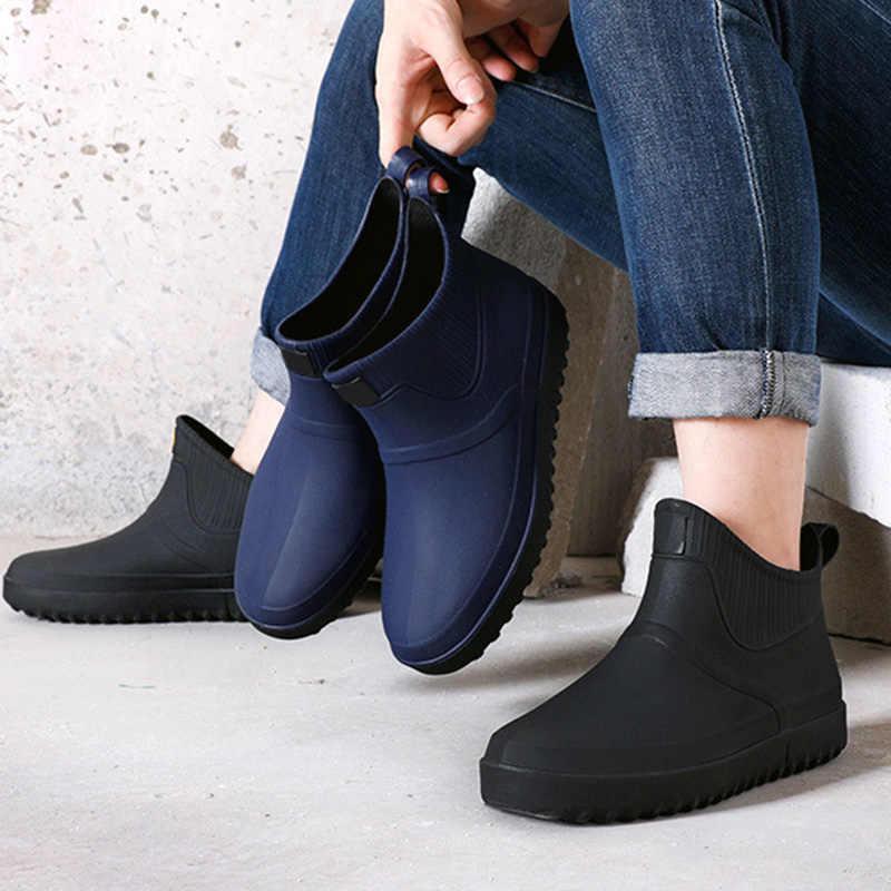 Nam Cao Su Giày Đi Mưa Chống Trơn Trượt Trên Chống Thấm Nước Thấp Gót Ống NHỰA PVC Giày Đi Mưa Làm Việc 2019 Bán nam giày
